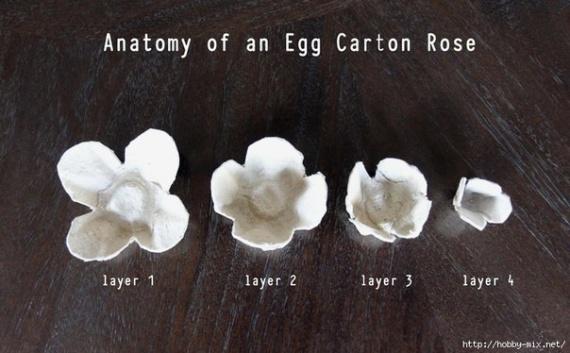 Розы из лотков для яиц для декора